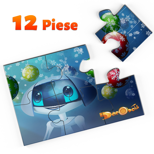 Puzzle A4 – Derzelis și globurile de Crăciun, 12 piese